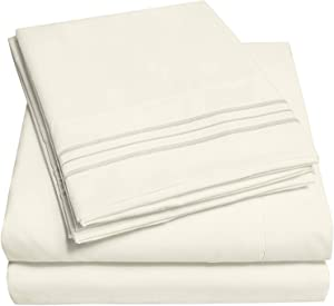 1500 Supreme Collection Extra Deep Pocket Sheets Set - Luxury Soft Bed Sheets, Wrinkle Free, Hypoallergenic Bedding, Over 40 Colors, 21 inch Extra Deep Pocket, Twin, Ivory