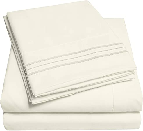 1500 Series IVORY Solid Fitted Sheet Twin XL Super Soft Deep Pocket 100/%