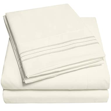 1500 Supreme Collection Extra Soft King Sheets Set, Ivory - Luxury Bed Sheets Set with Deep Pocket Wrinkle Free Hypoallergenic Bedding, Over 40 Colors, King Size, Ivory