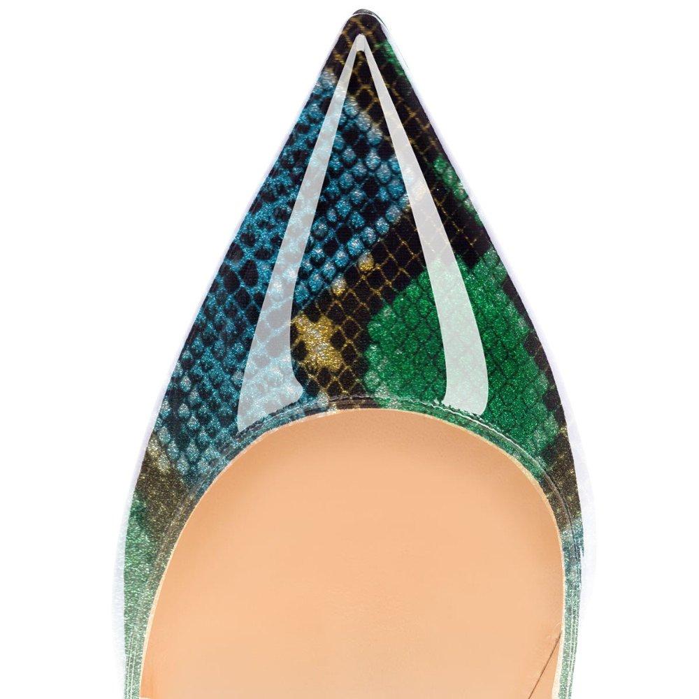 Eldof Women Low Heels Pumps | Pointed Toe Slingback Classic Flat Pumps | 2cm Classic Slingback Elegante Court Shoes B07FP88465 8 B(M) US|Green-snake fc7c72