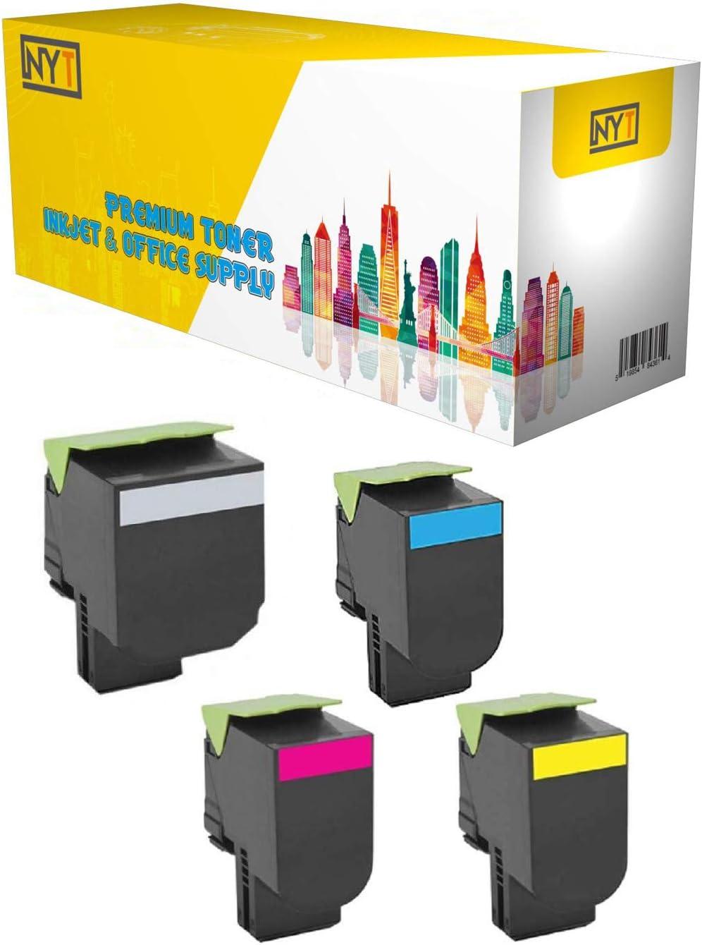 NYT Remanufactured High Yield Toner Cartridge Replacement for 71B0H10 H20 H30 H40 71B1HK0 71B1HC0 71B1HM0 71B1HY0 for Lexmark CS417dn CX417de CS517de Made in USA. Black,Cyan,Magenta,Yellow,4-Pack