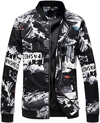 Men's Casual Zipper Front Floral Print Lightweight Bomber Jacket, JK805 Black, XL/48 = Tag 6XL