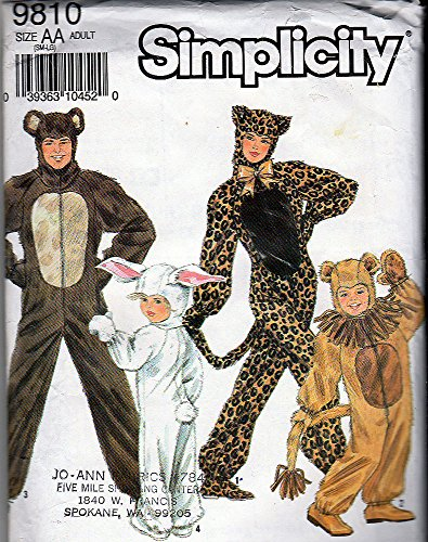 [Simplicity Sewing Pattern 9810 ADULT' Animal Costumes, Size AA 32