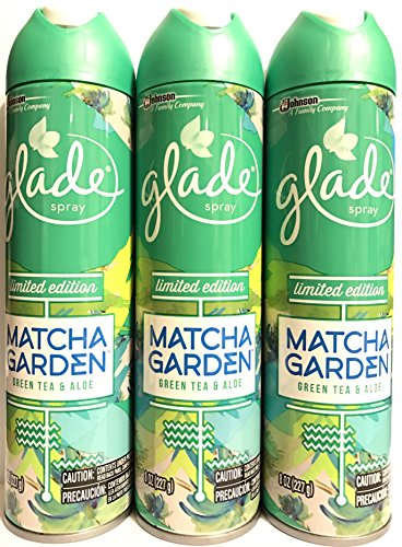 Glade Air Freshener Spray - Limited Edition Matcha Garden - Green Tea & Aloe - Net Wt. 8 OZ (227 g) Per Can - Pack of 3 Cans