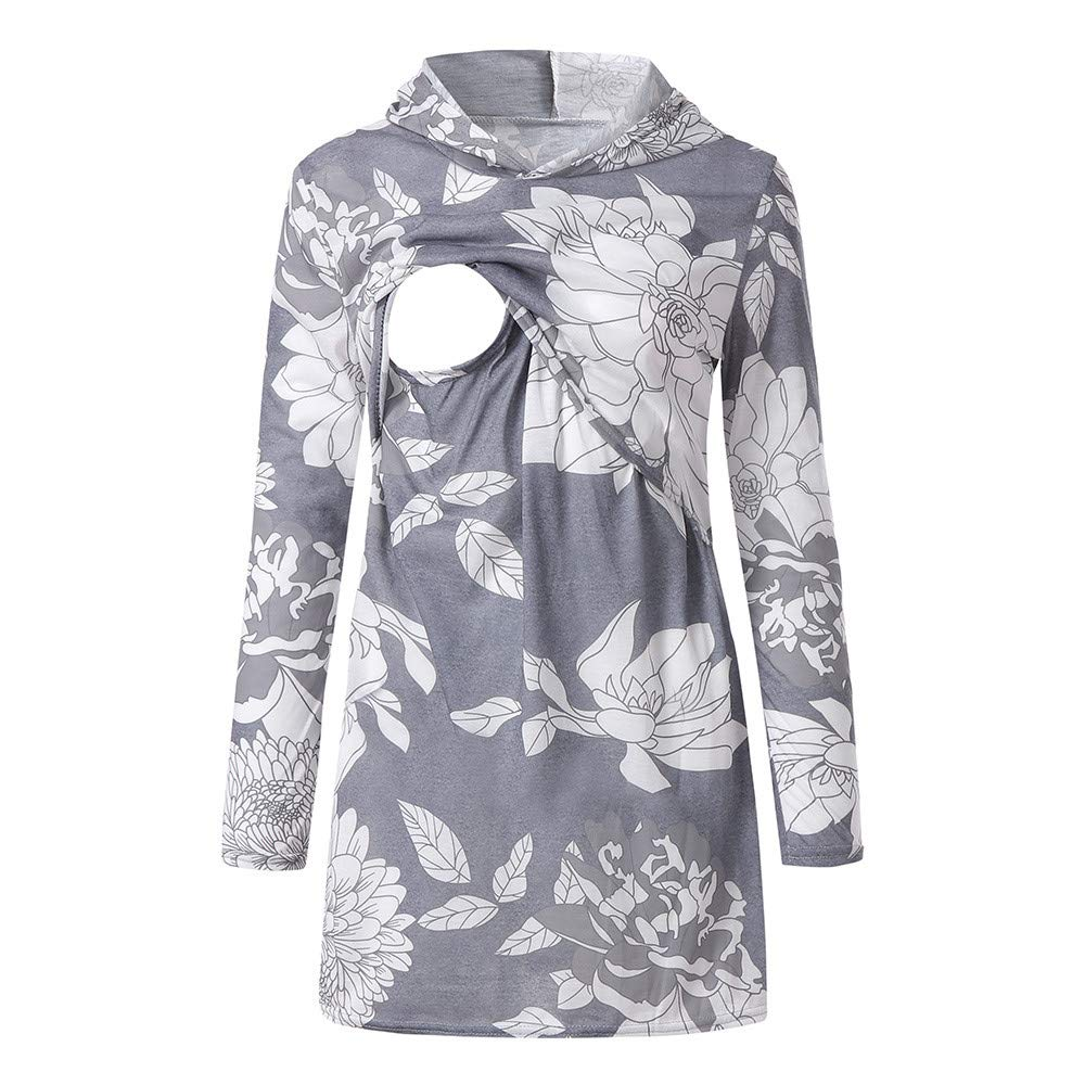 Fine Women Nursing Print Hoodie Long Sleeves Casual Top Breastfeeding Clothes Blouse