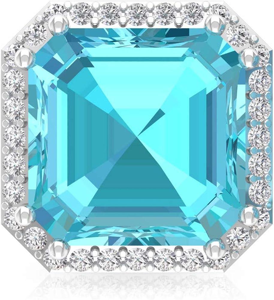 4,2 ct azul topacio suizo pendientes, forma de Asscher, declaración de piedras preciosas, certificado IGI, IJ-SI Diamond Bridal Earrin, tornillo hacia atrás