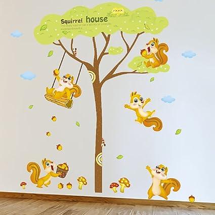 Amazon.com: Amaonm Giant Green Tree Wall Decals Cute Cartoon Animals ...