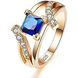 Yazilind glänzend Zirkonia Ringe vergoldet Intarsien Strass Engagement Schmuck für Damen