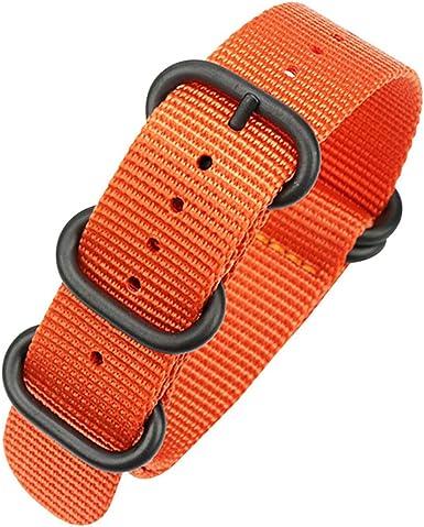 22mm naranja nato reloj de la correa la banda de reloj nylon balístico correas de nylon ajustables hebilla de acero inoxidable: Amazon.es: Ropa y accesorios