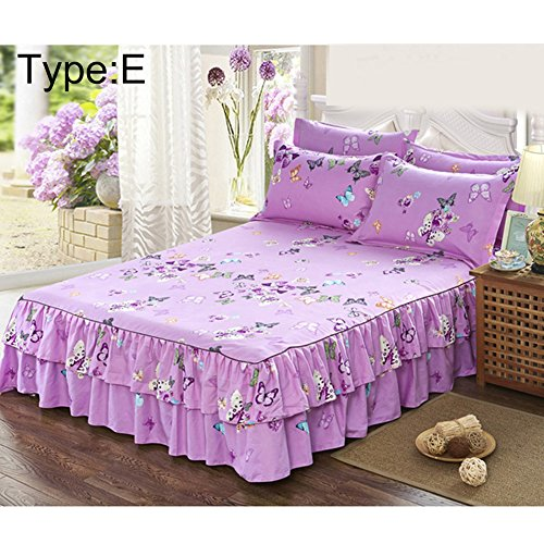 Bed Skirt Wrap Around Sanding Bedspread Fit Cotton Queen Thickened Fitted Sheet Double Bed Dust Ruffle Mattress Cover