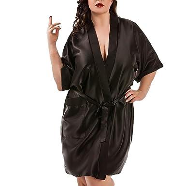 df3ce794caa Women Satin Dressing Gown Plus Size Bride Children Robe Lingerie Babydoll (Black