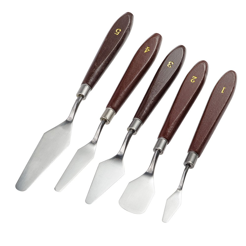 5 Pieces Painting Knife Set Stainless Steel Spatula Palette Knives Painting Mixing Scraper Oil, Acrylic, Canvas Painting Accessories for Color Mixing-Lightwish