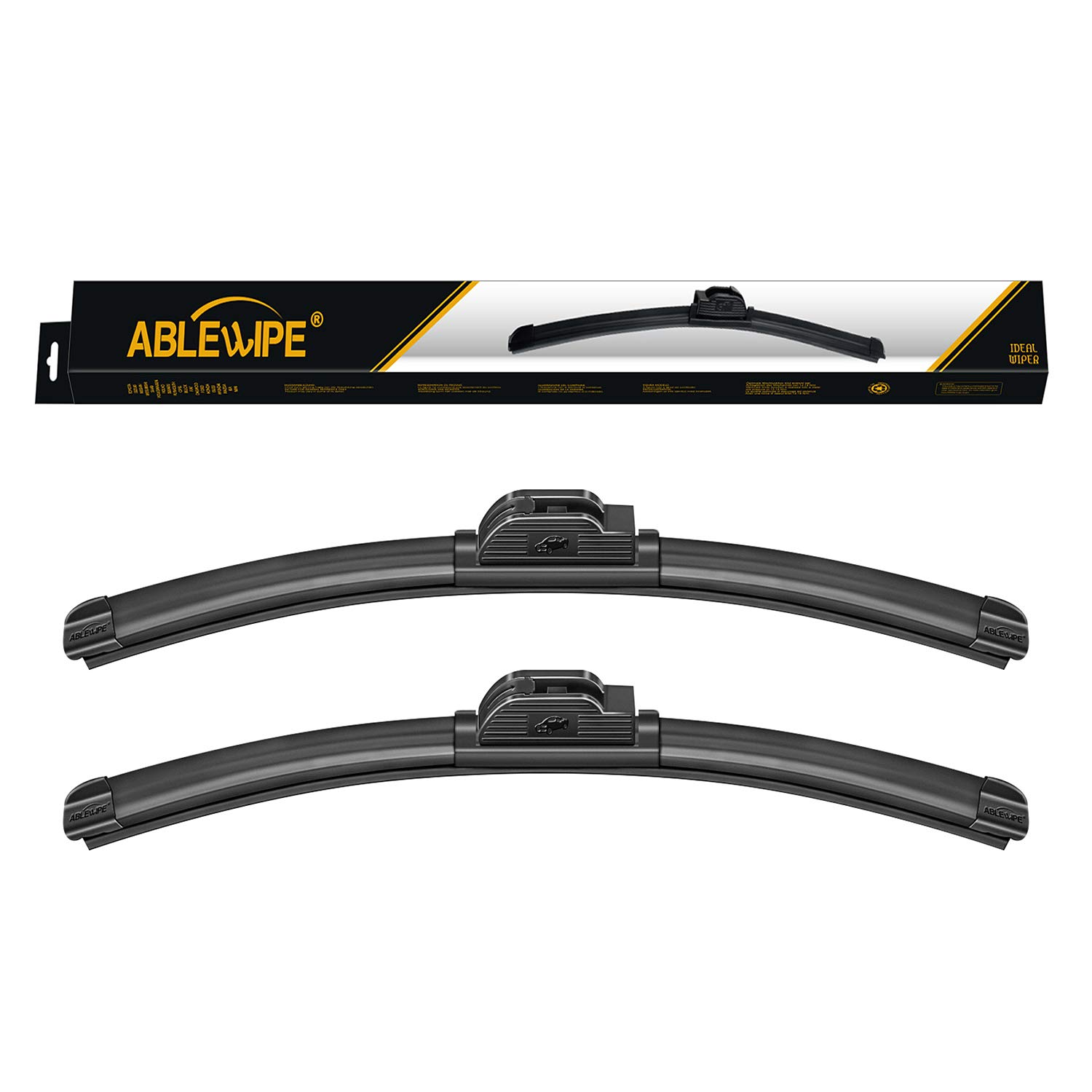 Ablewipe Winter Summer Front Window Bracketless Wiper Blades