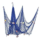 For Jaunty Mood Decorative Fish Net with Bonus Lifebuoy and Seashells, Mediterranean Style Nautical Decor, Wall and Home Decor, Party Supplies, Wall Art,6'7 x 4'11 Large Size (200x150cm)-Blue