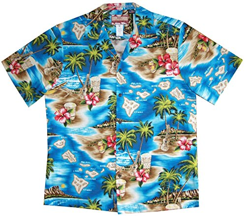 RJC Men's Hibiscus Hawaiian Islands Hawaiian Shirt Turquoise (Island Hibiscus Hawaiian Shirt)