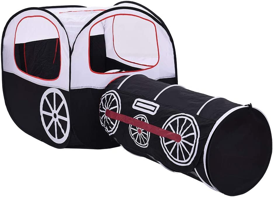 2 in 1 Foldable Kids Crawling Tunnel,Mosunx Toys Children Train Play Tent Pop-up Crawl-Through Tunnel /& Ball Pit Black