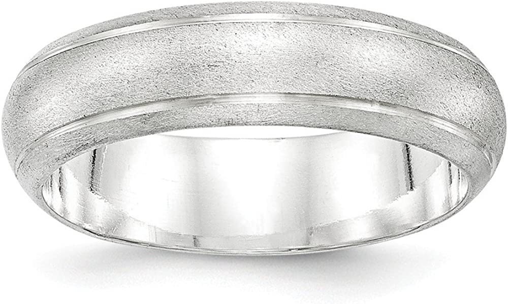 Sterling Silver 6mm Satin Finish Band Size 10 Length Width