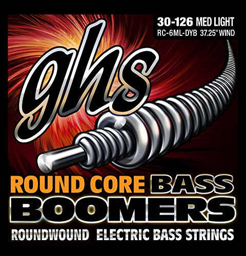 GHS Strings GHS Round Core Bass Boomers, 6-String Set, Medium Light Gauge (37.25