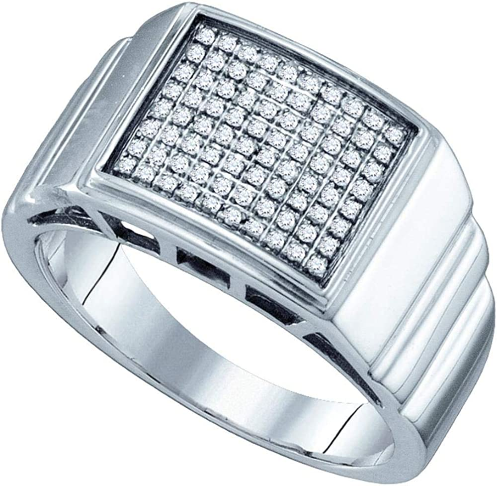 Sterling Silver Mens Round Diamond Square Cluster Textured Ring 1//4 Cttw