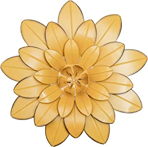 HOGARDECK Metal Flower Wall Decor - 13'' Outdoor Wall Art Backyard Decorations Hanging for Kitchen, Living Room, Bathroom (yellow-02)