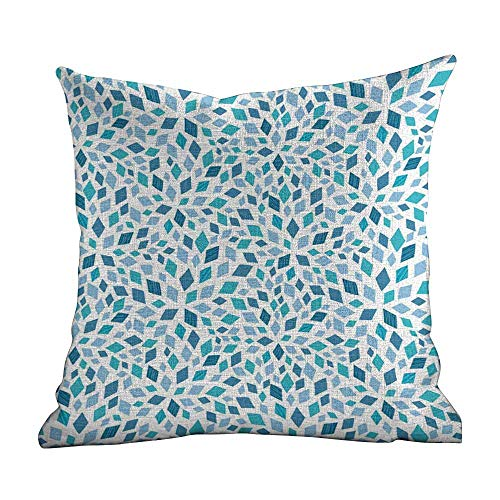 Matt Flowe Outdoor Pillow Covers,Teal,Abstract Style Scattered Mosaic Shapes in Blue Tones Artistic Rhombus,Turquoise Slate Blue White,Decorative Square Accent Pillow Case14 x14