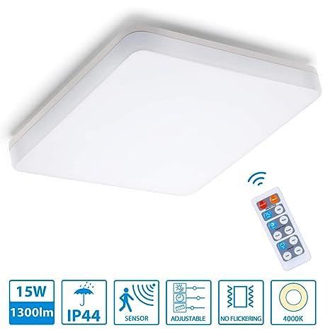 Oeegoo Regulable LED Lámpara de Techo, 18W 1300 Lm LED luz de techo con sensor de movimiento, 22*22*4.8/cm Ip44 Impermeable Plafón para baño ...
