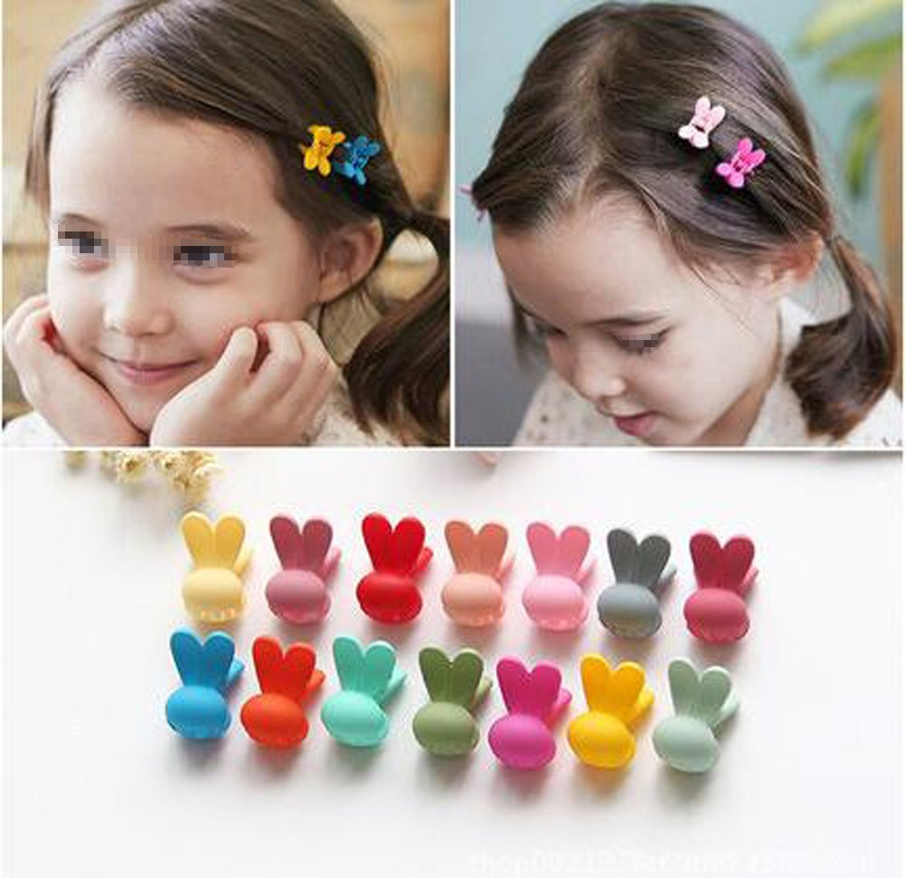 20pcs Girls Rabbit Ears Shaped Mini Hair Claws Clips Clamps Hair Pin Hair Bangs Hair Barrettes for Little Girls Kids Toddlers Random Assorted Colored erioctry