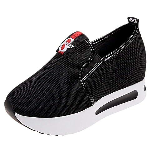 Primavera Verano Incremento de Plataforma Mocasines Malla Transpirable Zapatos Deportivos Casuales Mujeres Slip-on Flat Creepers: Amazon.es: Zapatos y ...