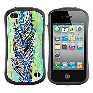 Suave TPU GEL Carcasa Funda Silicona Blando Estuche Caso de protección (para) Apple Iphone 4 / 4S / CECELL Phone case / / Feather Indian Pattern Watercolor /