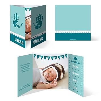 Babykarten.Geburtskarten 30 Stuck Handabdrucke Turkis Blau Geburt Babykarten Junge Klappkarten