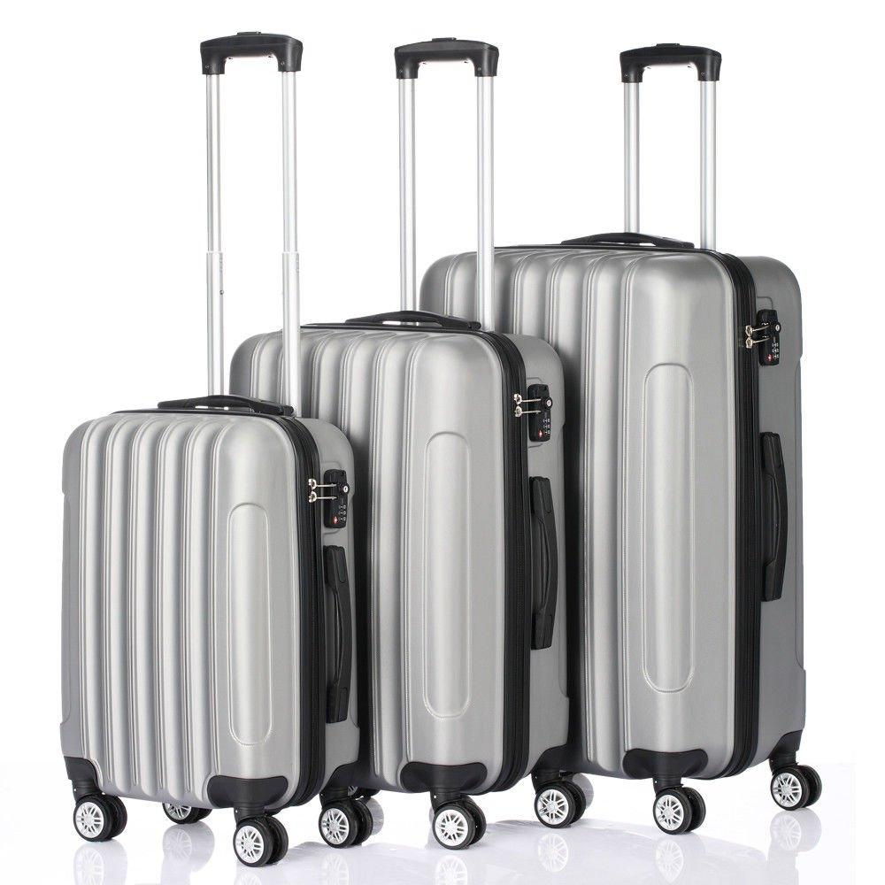 3 Pcs Luggage Travel Set Bag ABS+PC Trolley Suitcase w/TSA lock Gray New by tamsun