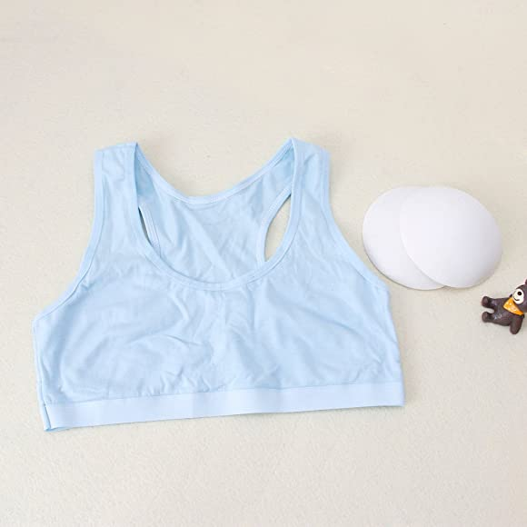 hoxin 3 Pack Young Girls Cotton Bra Kids Sport Wireless Small Training Puberty Underwear Crop Tops Racer Back 8-14Years