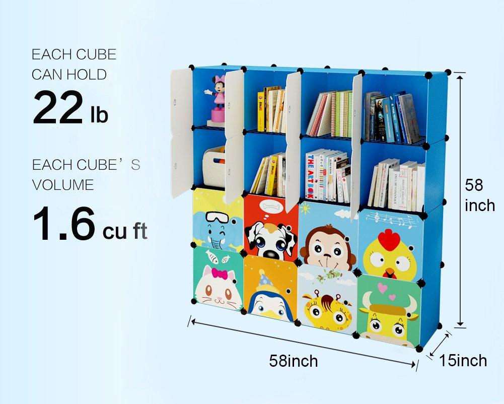 KOUSI Portable Kids Bookshelf Children Toy Organizer Multifuncation Cube Storage Shelf Cabinet Bookcase Capacious