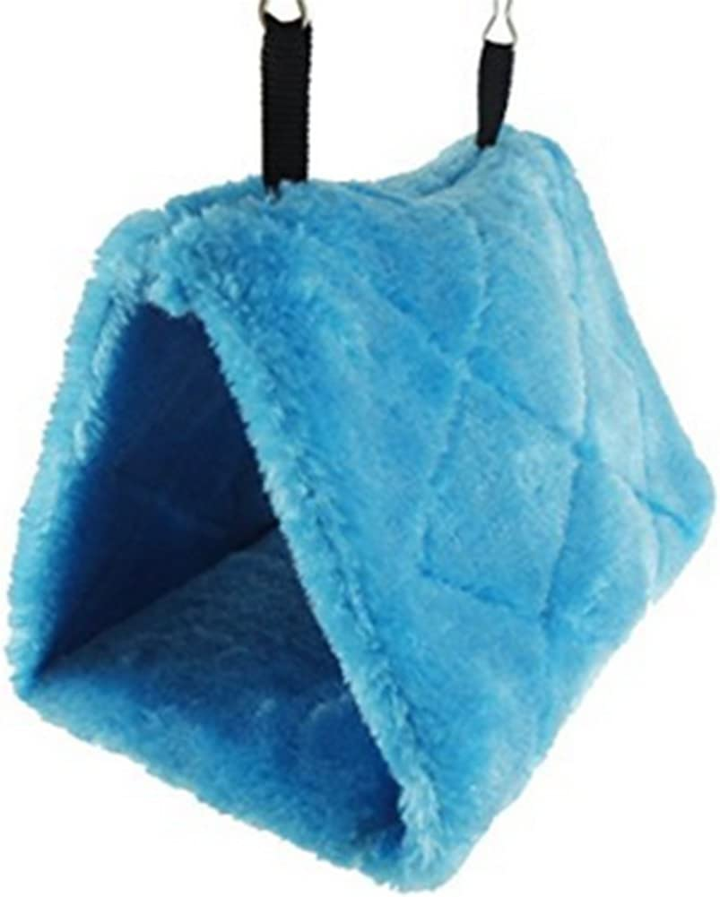 Blue Dylandy Parrot Nest House Hut Bed Cage Winter Warm Bird Nest Soft Plush Hammock Hanging Cave Toy For Parrot Budgies Cockatoo Parakeet Cockatiels