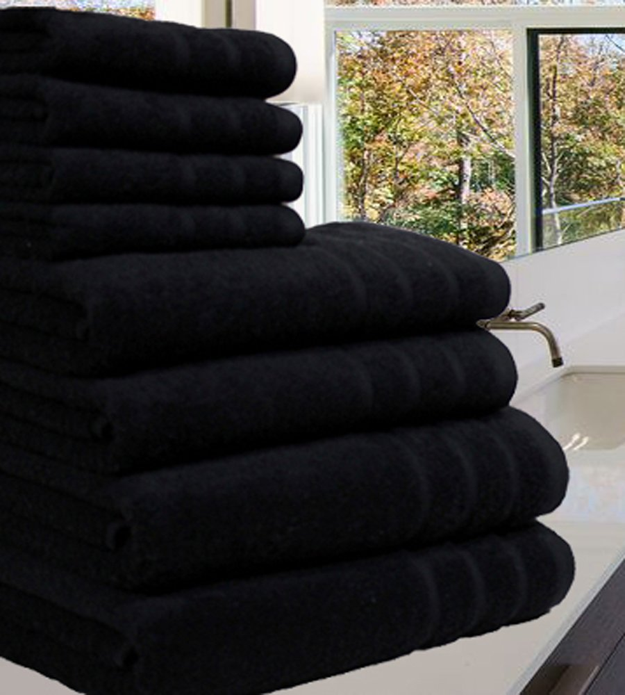 Egyptian Combed Cotton Towels 550 GSM Bathset 8 Pieces UNBEATABLE PRICE !!!! (4 Pieces Set, Black) Ceratex Imports
