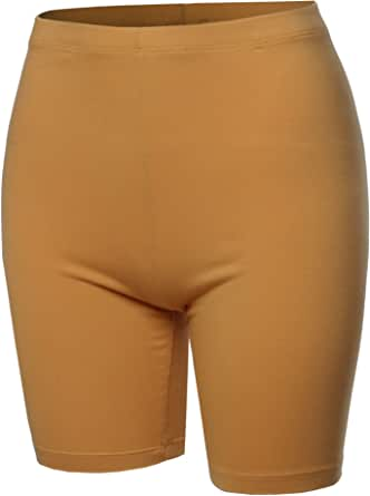 A2Y Women's Basic Solid Cotton Mid Thigh High Rise Biker Bermuda Shorts