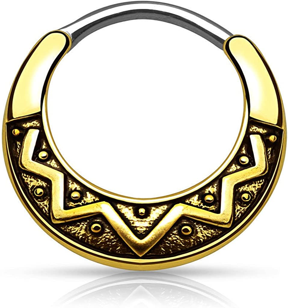 Lobal Domination 1pc Tribal Fan Design Round Surgical Steel Septum Clicker Pierced Nose Ring 16g, 14g