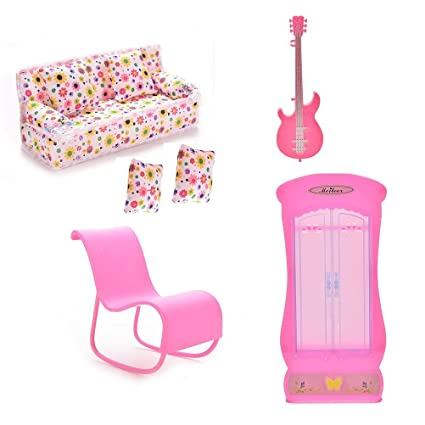 Xiton CoscosX Barbie Muebles Accesorios de 1PC sofá, 2pcs Cojines, 1PC Guitarra, Mecedora