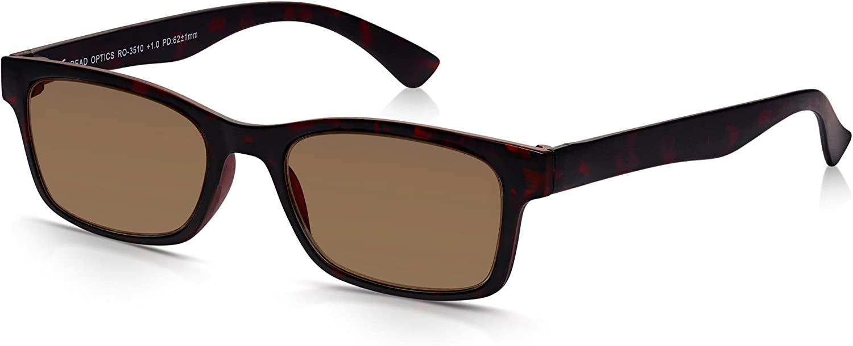 Read Optics: Gafas de Sol para Lectura Estilo Italian de Hombre/Mujer: Protección Rayguard™ UV-400 | Policarbonato Marrón Tortoise | Ligeras, Resistentes con Lentes Tintadas Graduadas +1.00 Dioptrías