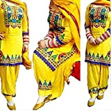Clothfab Women's Festival Mega Sale Offer Pure Cotton Heavy Embroidered Semi-Stitched Patiala Salwar Suit Dresses With Dupatta (Yellow-Color)