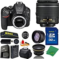 Great Value Bundle for D5500 DSLR – 18-55mm AF-P + 32GB Memory + Wide Angle + Telephoto Lens + Case