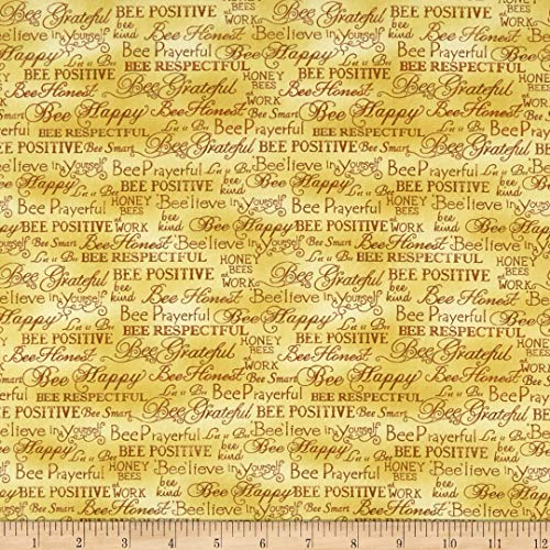 Fabri-Quilt Paintbrush Studio Bee Kind Words Fabric, Gold, Fabric By The Yard