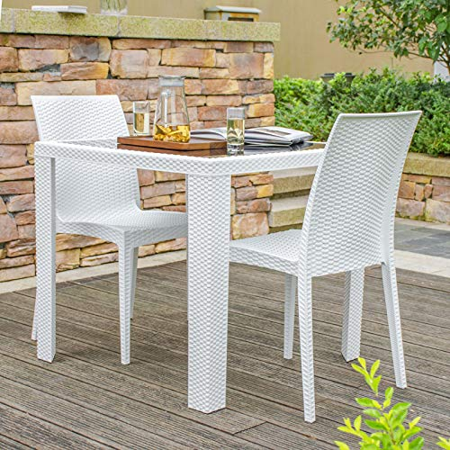 Rimdoc Outdoor Patio Dining Chairs, 2 Piece Modern Style Stackable Rattan Chairs,Vintage White Woven Seat Set of 2 for Dining Room/Cafe/Restaurant/Bistro/Bar/Camping (2 x Chairs)