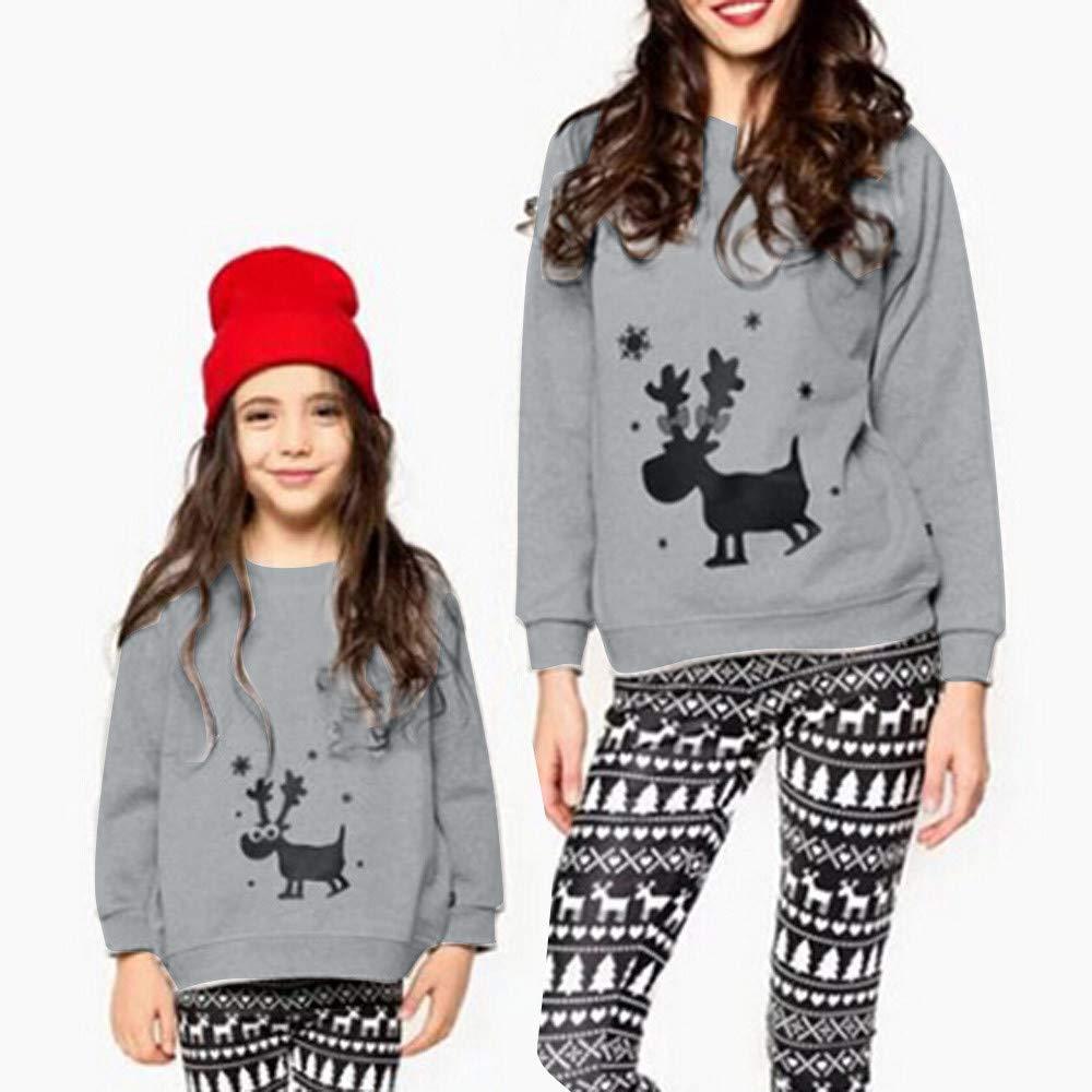 baf94bff83882 SANFASHION Famille Assortiment Homme Femme Bébé Wapiti De Noël Pyjamas  Manche Longue Vêtement De Nuit Top(sans ...