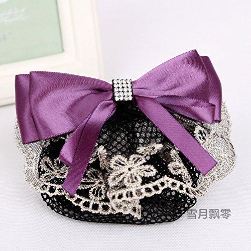 The new fiber fancy dance career head flower headdress Ms. Banks Hotel stewardess nurse hairpin plate hair ornaments net bag for women girl lady