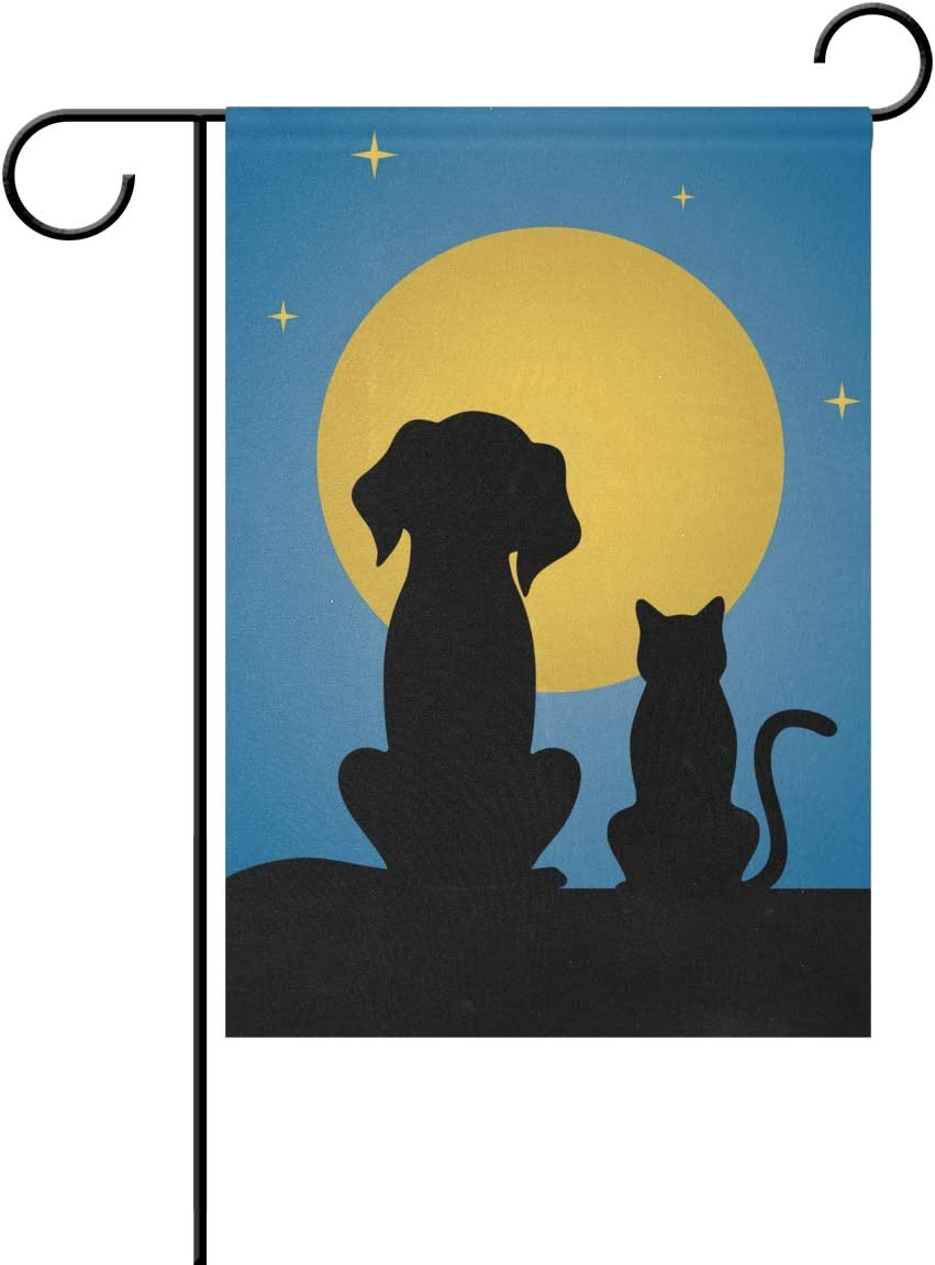 VIKKO Silhouette of Dog Cat Moon Starry Night Garden Flag Small Yard Flag Double-Sided Welcome Polyester Yard Banner for Outdoor Home Decor - 12 x 18 Inch