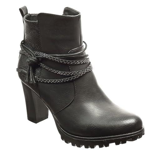 66db1f061d33 Angkorly - Zapatillas Moda Botines Low Boots Plataforma Mujer Piel de  Serpiente Tanga Talón Tacón Ancho Alto 8 CM - Plantilla Forrada de Piel