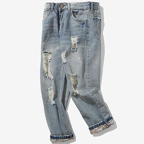ZODOF Jeans de Moda Casual para Hombres Pantalones de Mezclilla de algodón para Hombres Ocasionales del otoño del Dril de algodón de la Colada del Vintage ...