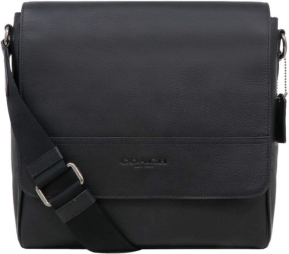 Coach F68015 Houston Map Leather Crossbody Messenger Shoulder Bag, QB Black