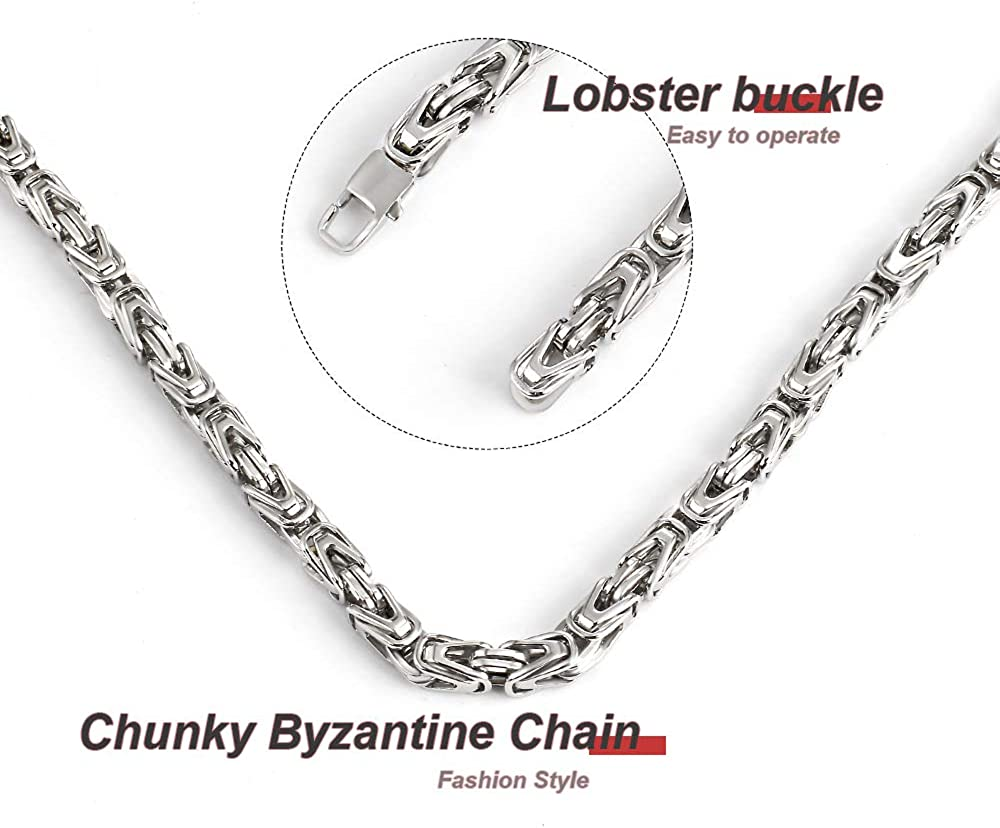 Mens Stainless Steel Sturdy Chunky Byzantine Chain Necklace-Silver 6mm//0.23inch